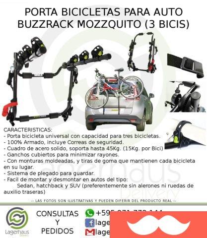 Porta bicicelta BuzzRack Mozzquito Capacidad  Hasta 3 Bicis (45kg) Montura  individual para cada bici. Tensores de acero y tiras de sujeción  adicionales 8982d1de6669